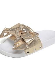 economico -Da donna Pantofole e infradito Comoda Tessuto PU (Poliuretano) Estate Casual Footing Fiocco Piatto Oro Nero Argento 5 - 7 cm
