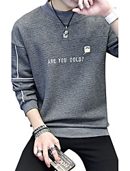 cheap -Men's Daily Plus Size Casual Sweatshirt Letter Round Neck Micro-elastic Cotton Spandex Long Sleeve Winter Fall