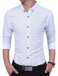 cheap -Men's Daily Casual All Seasons Shirt,Print Square Neck Long Sleeves Cotton
