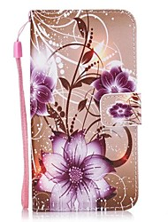 cheap -Case For Huawei P10 Y5 II Case  Purple Rose PU Leather Flip Case with Magnetic Snap and Card Slot For P10 Lite P9 Lite
