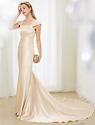 Mermaid / Trumpet Straps Court Train Stretch Satin Wedding Dress with Beading Criss Cross by LAN TING BRIDE®