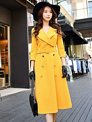 Women's Daily Holiday Going out Work Vintage Casual A Line Dress,Solid Shirt Collar Midi 3/4 Length Sleeves Polyester Spandex Spring Fall
