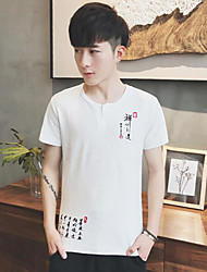 Men's Casual/Daily Simple T-shirt,Solid Round Neck Short Sleeves Linen