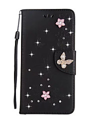 For Case Cover Card Holder Wallet Rhinestone with Stand Flip Full Body Case Solid Color Butterfly Hard PU Leather for Samsung Galaxy S8