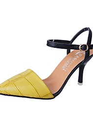 cheap -Women's Shoes PU(Polyurethane) Summer Slingback Sandals Kitten Heel Pointed Toe Buckle Black / Yellow / Red