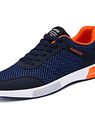 Men's Athletic Shoes Comfort Spring Fall PU Walking Shoes Casual Lace-up Flat Heel Black Gray Blue 2in-2 3/4in