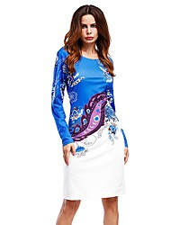 Women's Party Beach Holiday Going out Casual/Daily Sexy Vintage Cute Loose Sheath Dress,Floral Crew Neck Knee-length Long Sleeve RayonAll