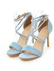 Women's Sandals D'Orsay & Two-Piece Leatherette Summer Wedding Casual Dress Buckle Stiletto Heel Light Blue Blushing Pink Ruby Black3in-3