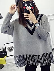 economico -Standard Pullover Da donna-Per eventi Monocolore Girocollo Manica lunga Altro Primavera Autunno Medio spessore Media elasticità