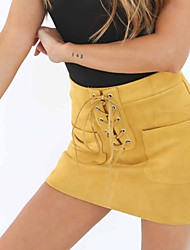 cheap -Women's Club Mini Skirts, Sexy Street chic Bodycon Polyester Solid Spring Fall