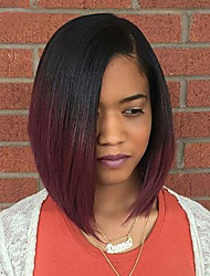 cheap -Synthetic Wig Natural Wave Bob Haircut Ombre Hair Black Red Women's Capless Natural Wigs Medium Long Synthetic Hair
