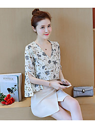 cheap -Women's Summer Blouse Skirt Suits,Floral Print Round Neck