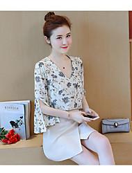 baratos -Mulheres Blusa - Estampado, Floral Saia