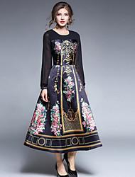 Недорогие -Жен. Шинуазери (китайский стиль) А-силуэт С летящей юбкой Платье С принтом
