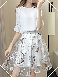Women's Going out Street chic Summer T-shirt Skirt Suits,Floral Round Neck Short Sleeve Cut Out Inelastic