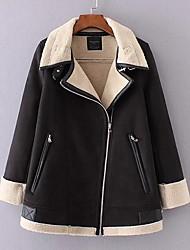 Women's Casual/Daily Simple Fall Winter Jacket,Solid Shawl Lapel Long Sleeve Regular Lamb Fur
