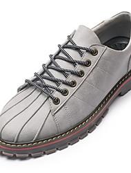 Недорогие -Для мужчин Кеды Удобная обувь Светодиодные подошвы Кожа Полиуретан Весна Осень Повседневные Шнуровка На плоской подошвеЧерный Серый