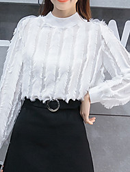 cheap -Women's Daily Going out Casual Winter Fall Blouse,Solid Round Neck Long Sleeves Polyester Medium