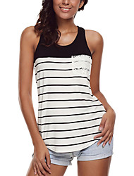 Women's Holiday Going out Casual/Daily Sexy Summer Tank Top,Striped Round Neck Sleeveless Polyester Spandex Medium