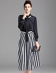 Maglietta Pantalone Completi abbigliamento Da donna Casual Semplice Autunno,Tinta unita Con stampe Rotonda Manica lunga