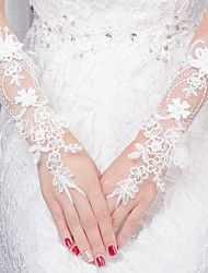 Wrist Length Fingerless Glove Lace Bridal Gloves All Seasons Pearls