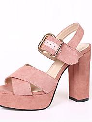 preiswerte -Damen Sandalen Komfort Pumps PU Frühling Sommer Kleid Party & Festivität Schnalle Blockabsatz Weiß Schwarz Rosa 10 - 12 cm