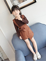 cheap -Girls' Solid Clothing Set,Cotton Polyester Spring Fall Long Sleeve Brown