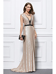 cheap -Mermaid / Trumpet Plunging Neckline Floor Length Sequined Formal Evening Dress with Sequins by YIYIAI