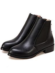 cheap -Women's Boots Fashion Boots Fall Winter Leatherette Dress Office & Career Zipper Low Heel Gold Black Flat
