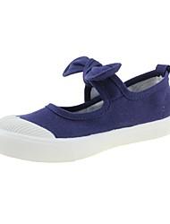 baratos -Para Meninas sapatos Lona Primavera Outono Conforto Rasos Laço Velcro para Casual Ao ar livre Azul Escuro Cinzento Fúcsia Rosa claro Vinho