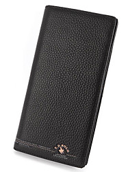 Men Checkbook Wallet Cowhide All Seasons Shopping Formal Party & Evening Rectangle Without Zipper Black Coffee