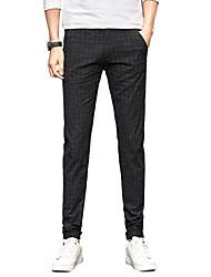 Men's Mid Rise Micro-elastic Chinos PantsSimple Straight Slim Solid Plaid/Check UK-519