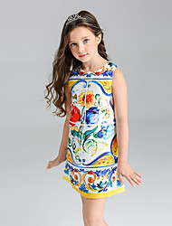 cheap -Girl's Floral Dress, Polyester Summer Sleeveless Floral Yellow