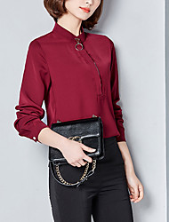 Women's Going out Casual/Daily Simple Boho Fall Blouse,Solid Round Neck Long Sleeves Cotton