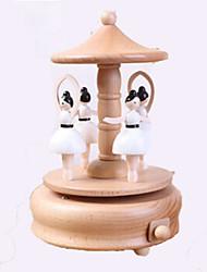 cheap -Music Box Wood Cylindrical Horse Carousel Unisex Gift