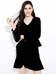 economico -Fodero Vestito Da donna-Per uscire Casual Sensuale Semplice Moda città Tinta unita Colletto Al ginocchio Asimmetrico Manica lunga Cashmere
