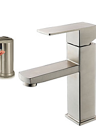 Contemporary Vessel Widespread Ceramic Valve One Hole Brushed , Bathroom Sink Faucet