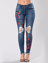 cheap -Women's Street chic Skinny Jeans Pants - Floral / Embroidered Ripped High Rise / Summer / Fall / Embroidery