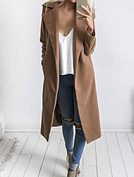 Women's Going out Simple Winter Coat,Solid Shirt Collar Long Sleeve Long Polyester