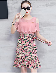 cheap -Women's Going out Sheath Dress,Floral Color Block Off Shoulder Above Knee Short Sleeves Polyester Summer Mid Rise Micro-elastic Thin
