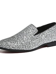 cheap -Men's Shoes Paillette / Glitter / Leather Spring / Fall Novelty / Comfort Loafers & Slip-Ons Walking Shoes Gold / Silver