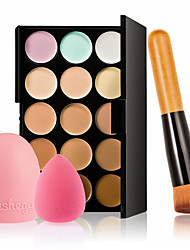 cheap -15 Colors Makeup Cream Concealer   Water Sponge Puff  Powder Brush Brush Cleaner Make Up Set