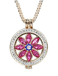 cheap -Women's Flower Crystal Rhinestone Crystal Pendant Necklace  -  Vintage Elegant Fashion Round Gold Silver Necklace For Daily Casual