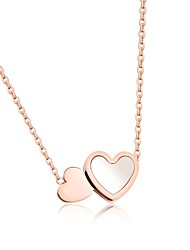Short style necklace fashionable small and fresh double - love stainless steel - plated rose gold color gold collarbone necklace female