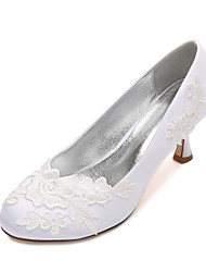 cheap -Women's Wedding Shoes Comfort Basic Pump Spring Summer Satin Wedding Party & Evening Dress Satin Flower Flower Low Heel Kitten Heel