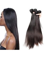 preiswerte -neue Ankunft natürliche original brasilianische Seide gerade reines menschliches Haar spinnt 3 Bündel 300g viel natürliche schwarze Farbe
