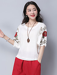 Women's Casual/Daily Chinoiserie T-shirt,Embroidery Round Neck Half Sleeves Cotton Linen