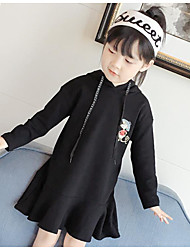Girl's Print Dress,Cotton Polyester Spring Fall Long Sleeve Floral Black Gray