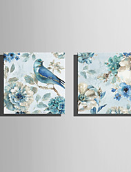 E-HOME Stretched Canvas Art Simple Flowers And Birds Series 2 Decoration Painting Set Of 2