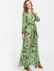 Women's Party Daily Holiday Going out Club Sexy Boho Street chic Sheath Dress,Print Round Neck Maxi Long Sleeves Polyester Winter Fall